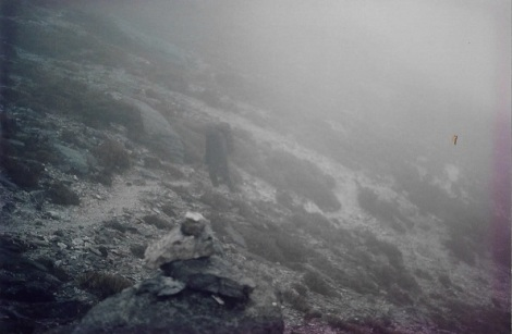 Ali in a cloud somewhere within a few kms of Lk Cygnus. Thanks be to rock cairns.