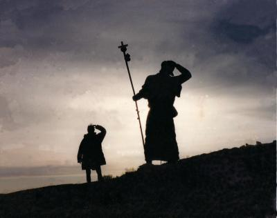 Sunrise in the Galicia mountains - just me and the bronze pilgrim from 6th century