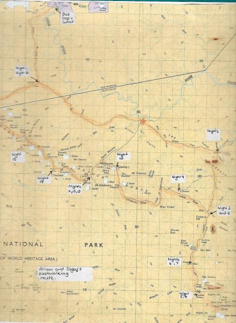 South West Tasmania Walking Map of the Arthur Ranges