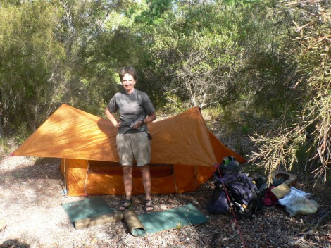 First camp with tent at the boat ramp