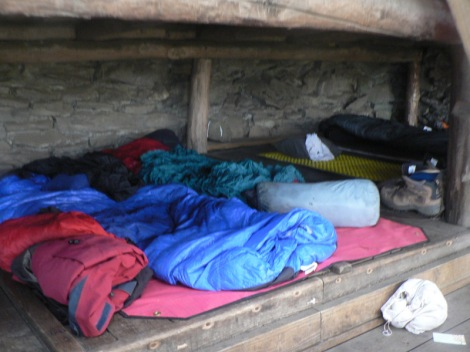 Set up for the night in a shelter