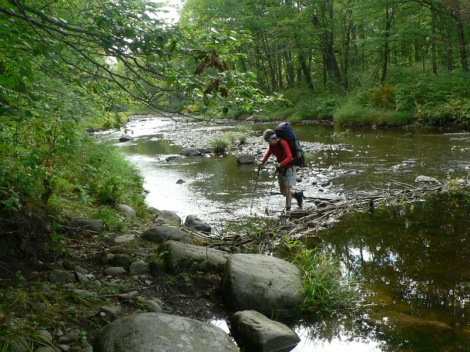 One of many creek crossings in Maine