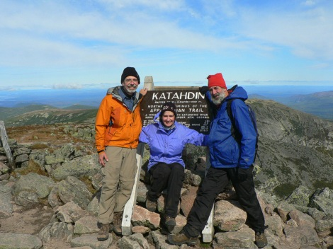 Stickbuilt with us on the top of Mt Katahdin